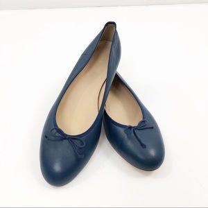 J.Crew Kiki Ballet Flats Sz 9.5 Leather Navy Blue